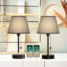Set of 2 Bedside Table Lamps Dual USB Nightstand Lamps...