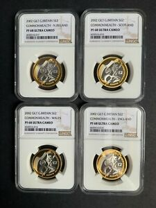 NGC Graded 2002 Silver Proof Commonwealth Games Set UK £2 Two Pounds PF68