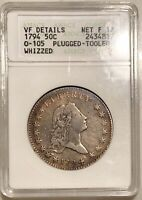 1794 Flowing Hair Half Dollar O-105 ANACS VF Details Net F-12 1st Gen Holder