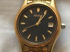 Reloj pulsera Batería de trabajo agradable aspecto Seiko para hombre Caballeros Placa de Oro