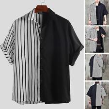 Men Patchwork Striped Shirts Short Sleeve Streetwear Hippie Baggy Button T Shirt