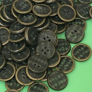 12 x 19mm Black And Brass Coloured Buttons #1734