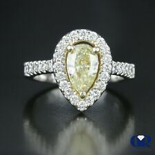 Natural 2.23 Ct Pear Cut Fancy Yellow Diamond Halo Engagement Ring 14K Gold