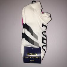 Womens Polo Ralph Lauren Low Cut Socks 4 Pairs Black / Pink / White Nwt