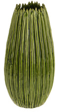 36cm Tall Botanica Green Ceramic Flower Vase Unique Rippled Design Wide Body