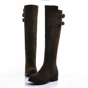 Women Faux Suede Buckle Strap Knee High Riding Boots Fashion Retro Pull On Shoes
