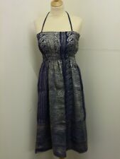 Indian Recycled Sari Summer Midi Dress One Size Blue (BL1)