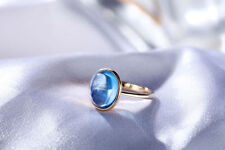 18ct Yellow Gold Natural Cabochon Cut Blue Topaz Cocktail Ring