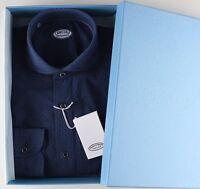 NWT 380$ VINCENZO DI RUGGIERO SHIRT blue printed full handmade Italy 38 15