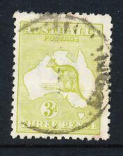 Australian 3d Olive Kangaroo 3rd wmk, used