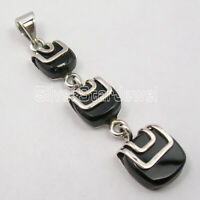 925 Sterling Silver New Fashion Jewelry Cabochon Black Onyx Pendant 2""