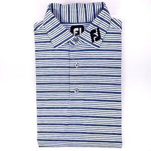 FootJoy FJ Collar Polo Shirt Medium White Blue Titleist Edition Golf Mens Size M