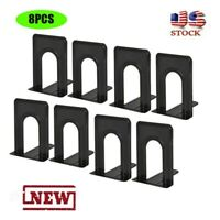 4 Pairs/8 Pieces Metal Bookends Non-Slip Heavy Metal Bookshelf For Shelves US