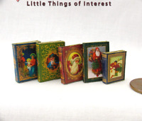5 CHRISTMAS BOOKS SET Miniature Books Dollhouse 1:12 Scale Prop Faux Books