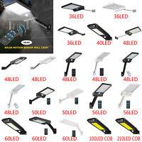 Solar 36/50 LED Street Wall Light PIR Motion Sensor Outdoor Garden Dimmable Lamp