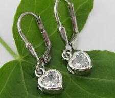 Kinder Ohrringe Herz Brisuren 925 Sterling Silber Zirkonia weiß Ohrhänger 25mm