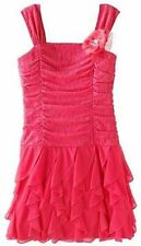 MY MICHELLE RUCHED CORAL PINK PARTY HOLIDAY EASTER DRESS GIRLS Sz 7 NEW NWT $58