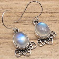 Blue Flash RAINBOW MOONSTONE Earrings, Silver Plated Jewelry Retro Fashion Co Uk