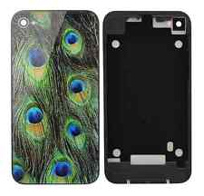 Peacock Feathers Replacement Back Housing for iPhone 4S Case Screen Glass Cover