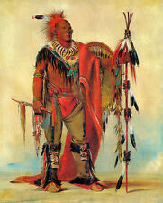 Watchful Fox Indian Chief 30x44 George Catlin Native American Indian Art