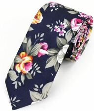 New Hawaiian Shirt Neck Tie Black Flower Floral NeckTie Luau Hawaii US SELLER