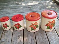 Vintage SET 4 TIN DECOWARE CANISTERS w/TROPICAL HAWAIIAN RED ANTHURIUM FLOWER