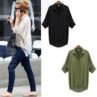 Women's Button Down Chiffon T Shirt Long Sleeve Tops Blouse Chic Elegant Shirts
