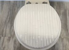 Heavy duty Metal Hinges Round Wooden Toilet seats with Bamboo Design (White)
