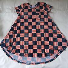 LuLaRoe Carly Dress American Flag Pattern Stars Stripes Red White Blue Size 6