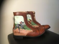 Hand Painted Paddock Boots Size 7 equestrian decor Brown Leather Horses Emerson