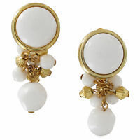 """Large White Gold Beaded Cluster Gold Tone Clip On Earrings 2 1/4"""""""