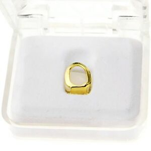 Open Face Grillz Single Cap 14k Gold Plated Hip Hop Bottom 1 One K9 Tooth Grill