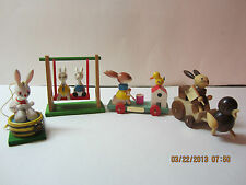Vintage Goula Wood Rabbit/Bunny Easter Ornaments/Decorations-1982-Made In Spain