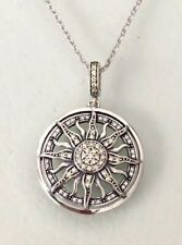 Gorgeous Sterling Silver Sparkling Celestial Sun Pendant Necklace With Chain