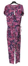 "per Una Full Length Short Sleeve Pink Floral Print Jumpsuit 16 Regular Leg 31"""