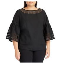 NEW Lauren Ralph Lauren Women's Plus Black Poplin Back Zip Blouse Top Size 2X