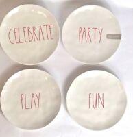 "New Rae Dunn Melamine PARTY FUN PLAY CELEBRATE Set of 4 Salad Dessert Plates 8"""