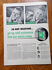 1950 Williams Lectric Shave Ad  In Hot Weather Get Top Notch Performance