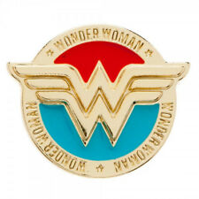 DC Comics Wonder Woman Colored Metal WW Logo Lapel Pin with Name, NEW UNUSED