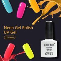 Neon Gel Nail Polish UV LED Soak Off  No Wipe Top Base Coat Manicure BELLE FILLE