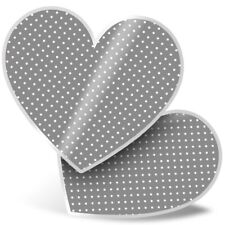 2 x Heart Stickers 15 cm - Grey White Polka Dots Pattern Cute  #45252