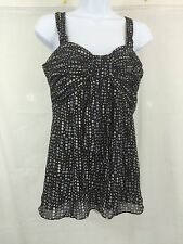 Nine West Brown/Blue/White Size:8 Polka Dot Flowing Bow Tank Top -