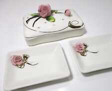 Lefton Vintage Porcelain Pink Rose Cigarette Jewelry Box Trays 60s Japan Shabby
