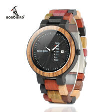 BOBO BIRD Mens Colorful Wooden Watches for Women Fashion Wood Strap Week Display