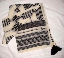 """LUCKY BRAND EMBROIDERED SCARF TASSEL SHAWL WRAP 75"""" X 26""""~ IVORY BLACK"""