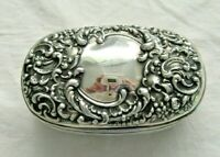 ANTIQUE STERLING SILVER UNGER BROTHERS SOAP BOX DISH ORNATE REPOUSSE FLORAL