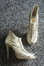 Lovely ladies size 7 light gold 'New Look' strappy cage heels sandals shoes NEW