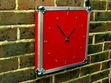 Large Industrial Flight Case Clock Square Red Steampunk