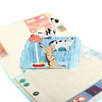 3D Greeting Card Cat Cute Handmade Invitation Lovely Birthday Gift  S