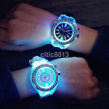 Fashion Women LED Backlight Flashing Glowing Crystal Rhinestone Sport Wristwatch